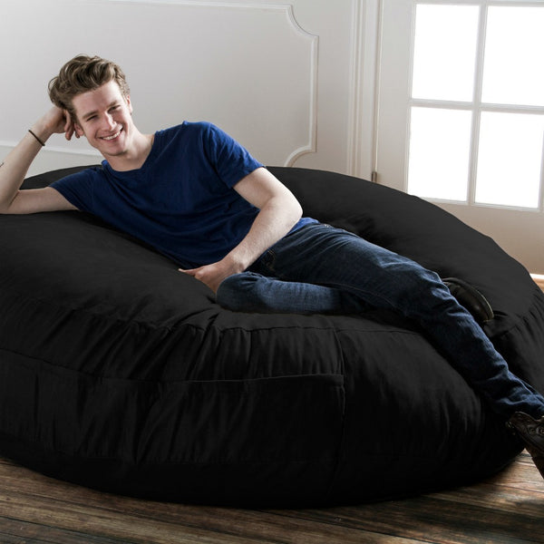 Black Microsuede 6 Foot Jaxx Cocoon Bean Bag Lounger