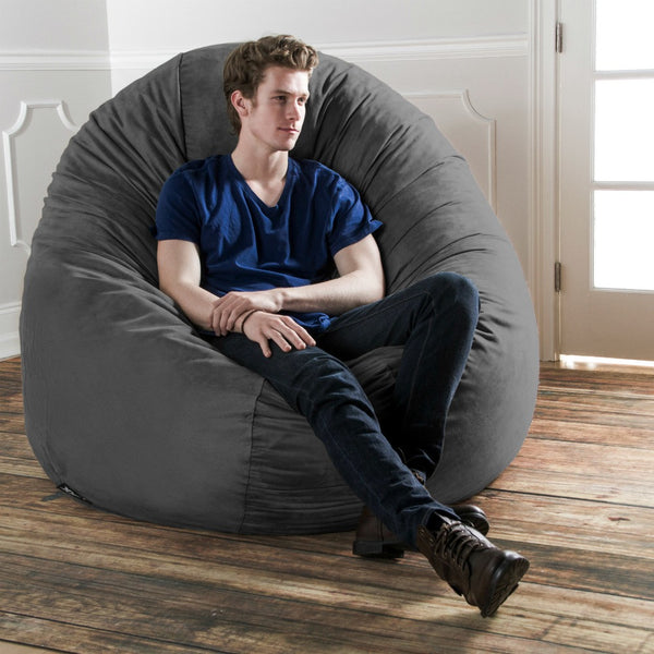 Charcoal Microsuede 6 Foot Jaxx Cocoon Bean Bag Lounger