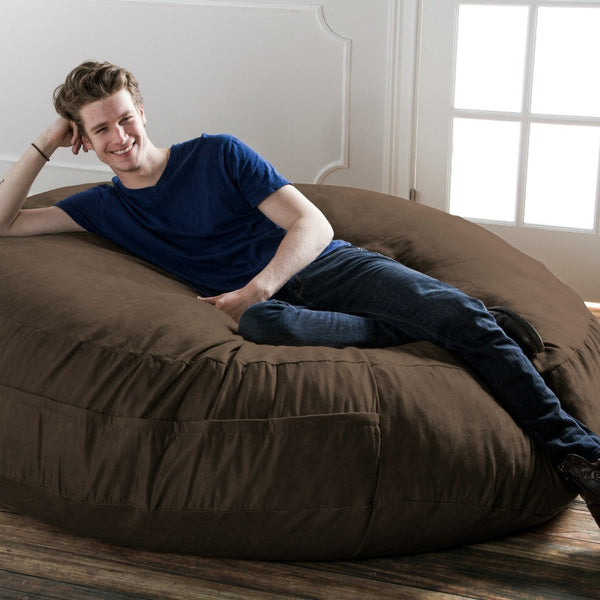 Chocolate Microsuede 6 Foot Jaxx Cocoon Bean Bag Lounger