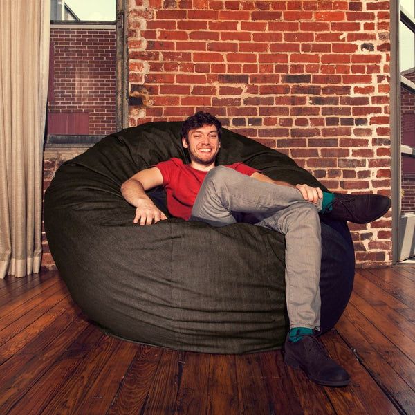 Black Denim 6 Foot Jaxx Cocoon Bean Bag Lounger
