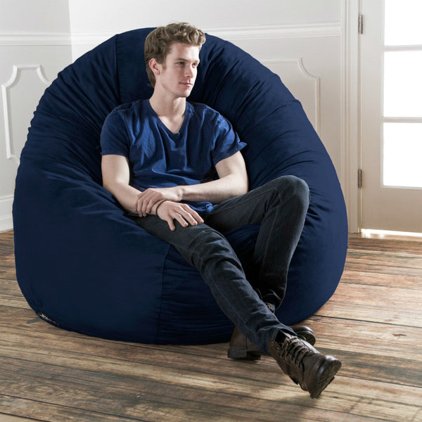 Navy Microsuede 6 Foot Jaxx Cocoon Bean Bag Lounger