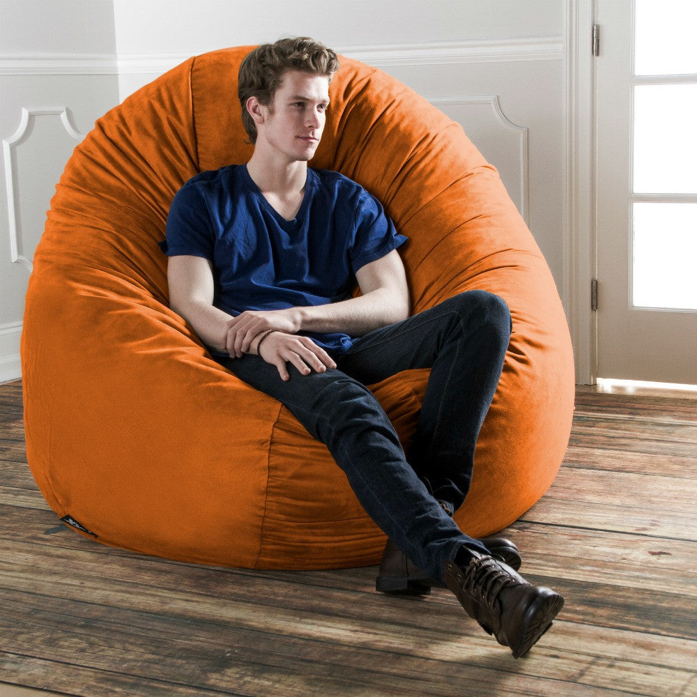 Orange Microsuede 6 Foot Jaxx Cocoon Bean Bag Lounger