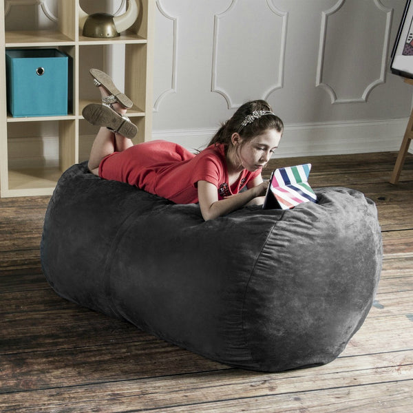 Charcoal Microsuede 4 Foot Jaxx Lounger Bean Bag Chair