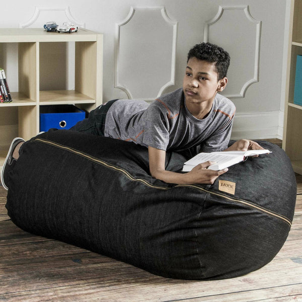 Black Denim 4 Foot Jaxx Lounger Bean Bag Chair