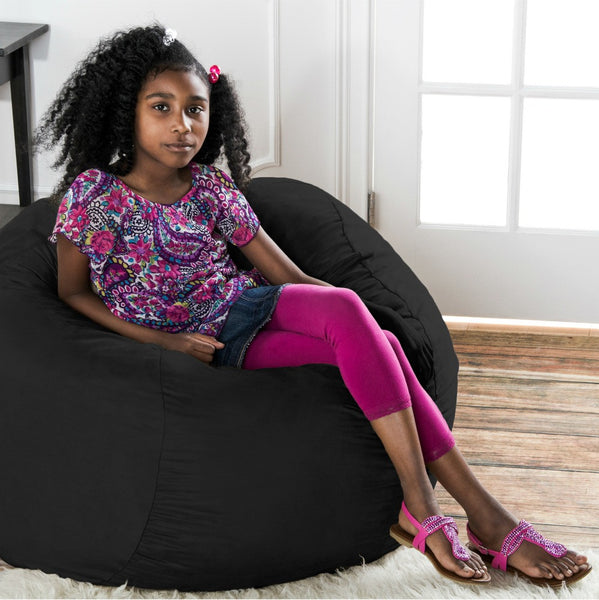 Black Microsuede 3 Foot Classic Jaxx Saxx Bean Bag Chair