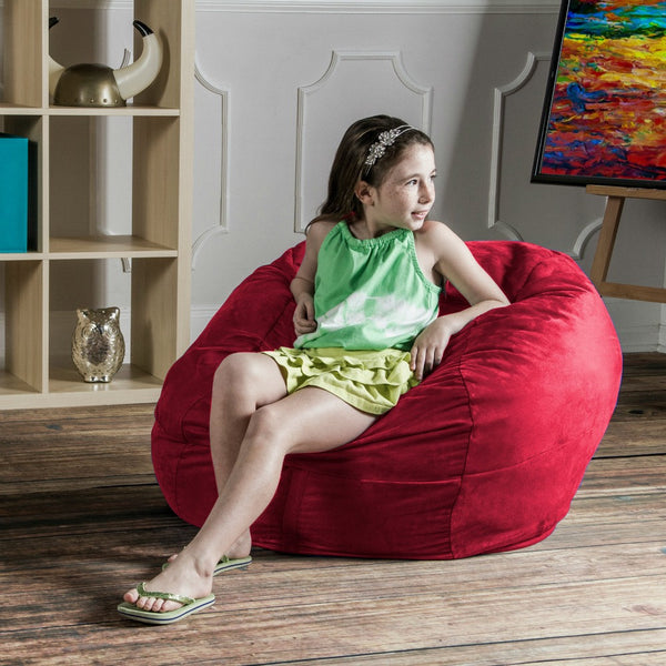 Cherry Microsuede 3 Foot Classic Jaxx Saxx Bean Bag Chair