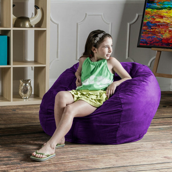 Grape Microsuede 3 Foot Classic Jaxx Saxx Bean Bag Chair