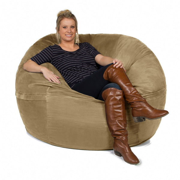 Camel Microsuede 5 Foot Classic Jaxx Saxx Bean Bag Chair