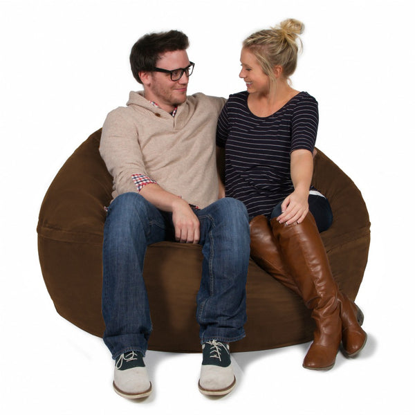 Chocolate Microsuede 5 Foot Classic Jaxx Saxx Bean Bag Chair
