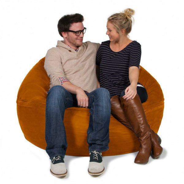 Orange Microsuede 5 Foot Classic Jaxx Saxx Bean Bag Chair