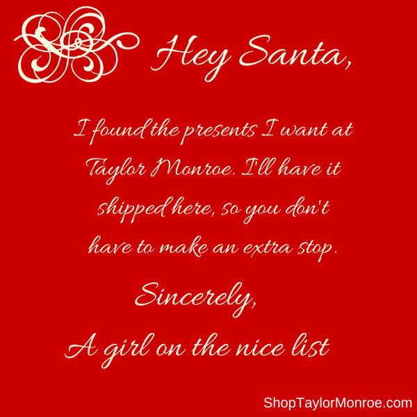 Sincerely, A girl on the nice list...kinda ;)
