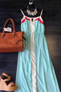 Teal and cream maxi block colored dress. To order email us at: ShopTaylorMonroe@yahoo.com