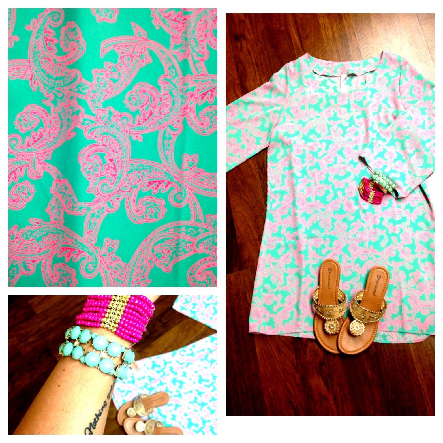 Print, Mint, Pink, Lily, Jack, Sandals, Bracelets, dress, OOTD, outfit of the day, casual