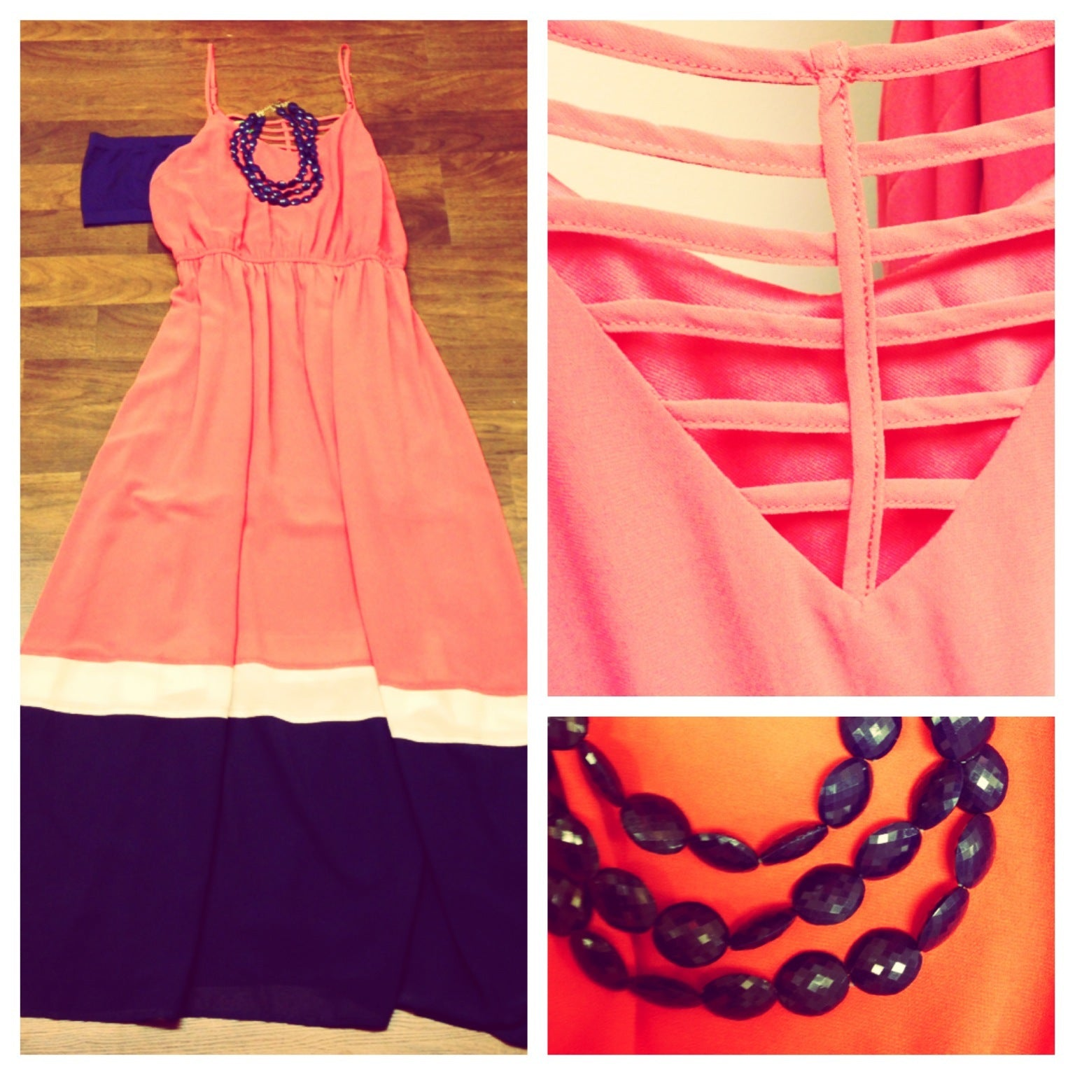 Dress, Maxi, Coral, Cream, Navy, Bubble Necklace, Necklace, Bandeau, Caged back, Detailed back, Casual, OOTD, outfit of the day, multicolored