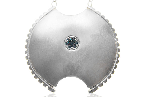 Blue Diamond Shield Necklace - b.Tsaritsa