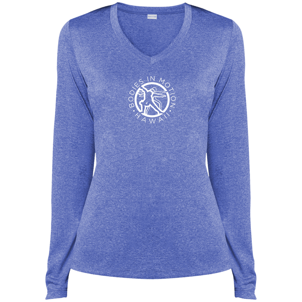 Bodies in Motion  Sport-Tek Ladies' LS Heather Dri-Fit V-Neck T-Shirt