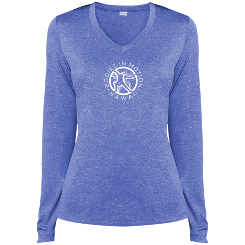Image of Bodies in Motion  Sport-Tek Ladies' LS Heather Dri-Fit V-Neck T-Shirt