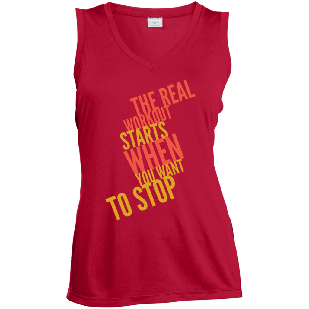 The Real Workout - Ladies' Sleeveless Moisture Absorbing V-Neck