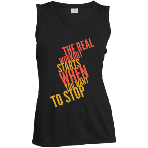 Image of The Real Workout - Ladies' Sleeveless Moisture Absorbing V-Neck