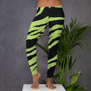 Leggings with green zebra pattern