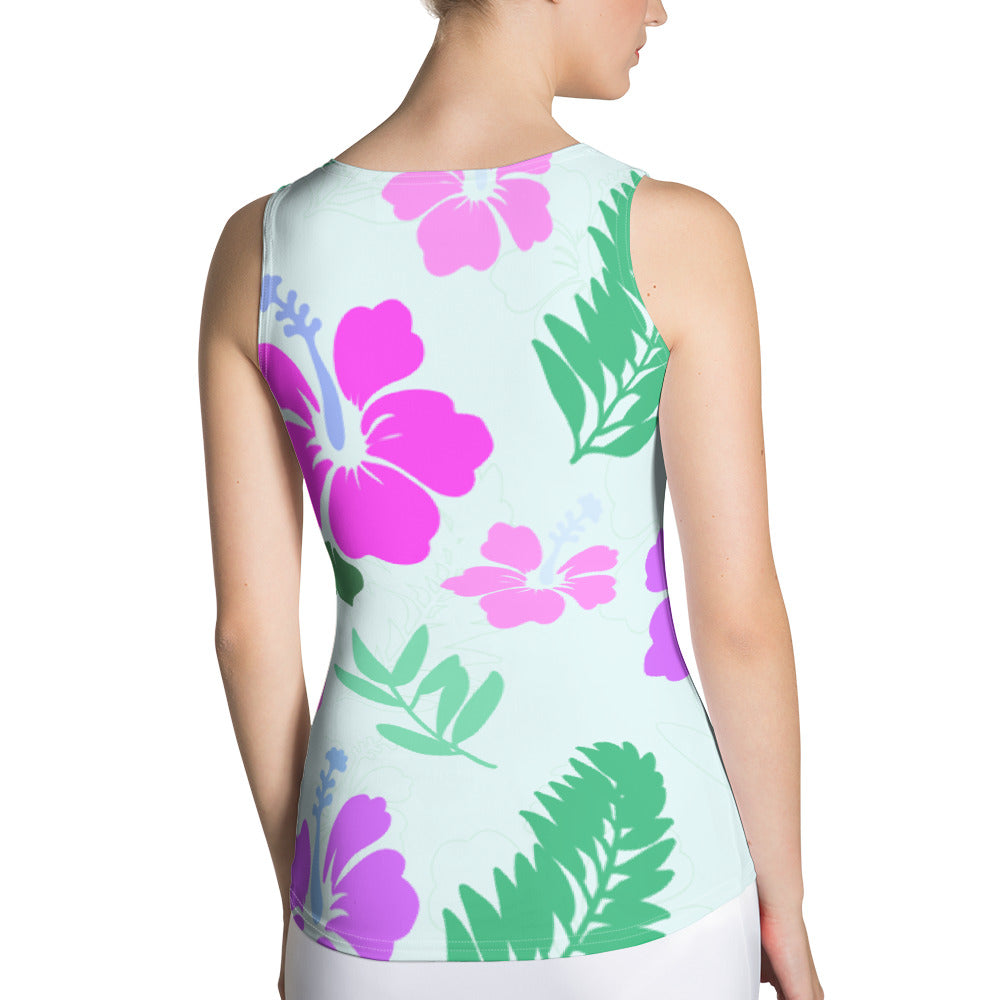 Hawaii inspired body hugging tank top with
