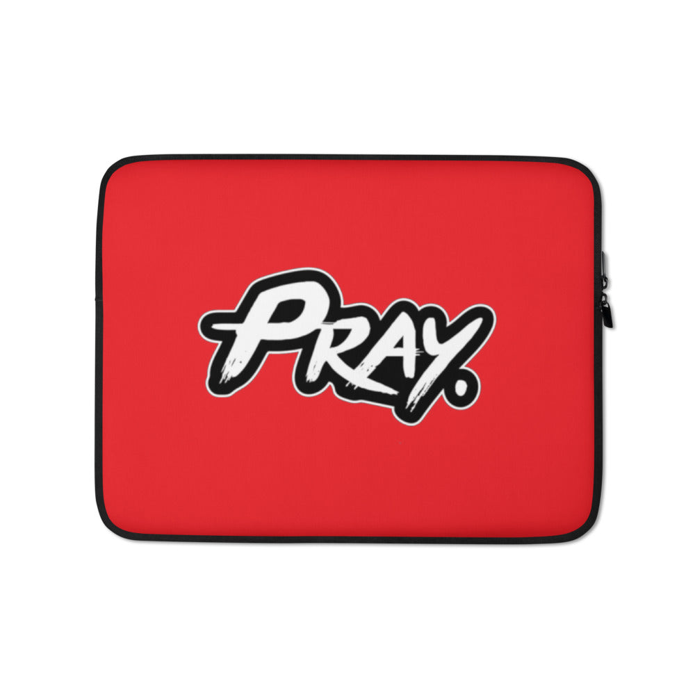 Pray Laptop Sleeve Red