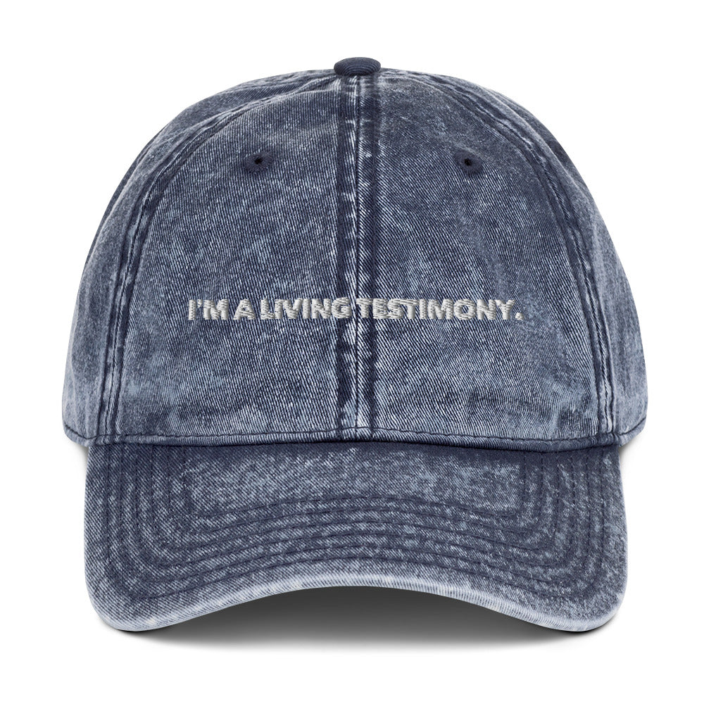 I'm A Living Testimony - Vintage Cotton Twill Cap - Pray Period