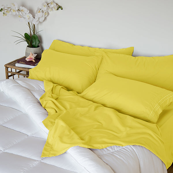 Sleep Oasis® 1800 Collection 4 Piece Sheet Set Meadowlark Yellow (King)