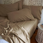 Load image into Gallery viewer, Coconut Shell Taupe Natural Bamboo Pillowcase Set