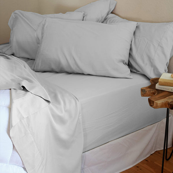 Harbor Mist Gray Natural Bamboo Pillowcase Set
