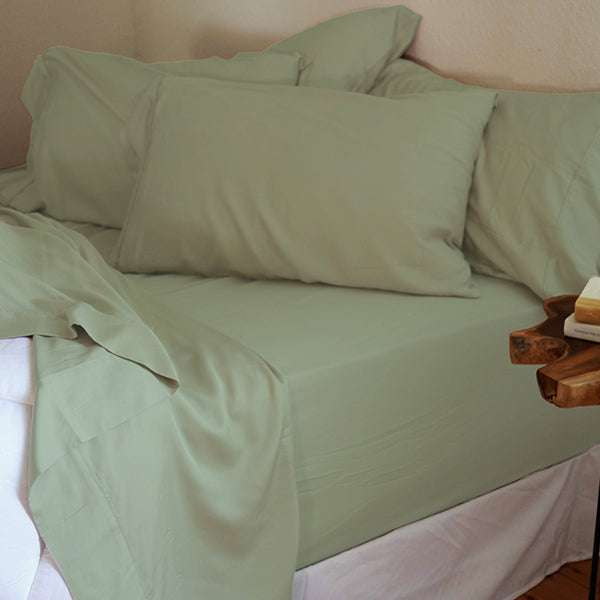 Seafoam Green Natural Bamboo Pillowcase Set