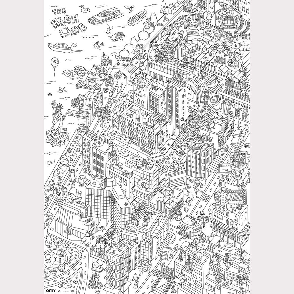 OMY x High Line giant coloring poster