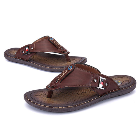 Summer Leather Beach Flip Flops