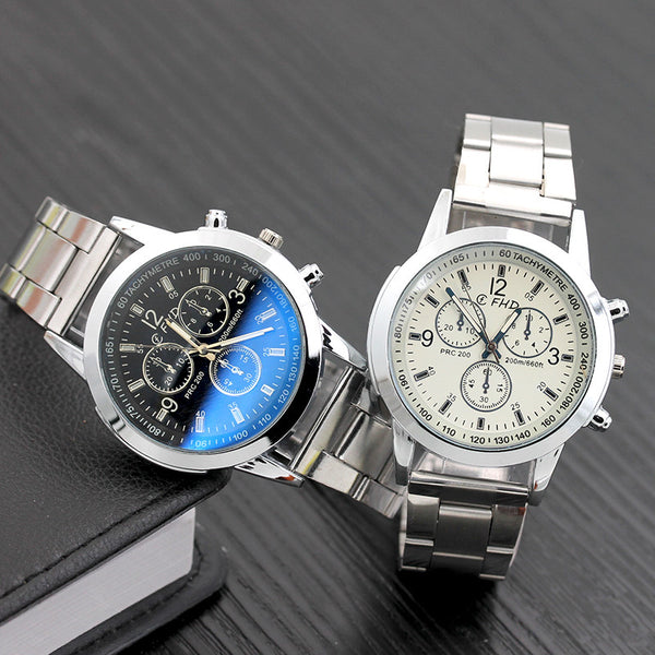 Men  Stainless Steel Wrist Date Analog Quartz Watch - imenapparel.com