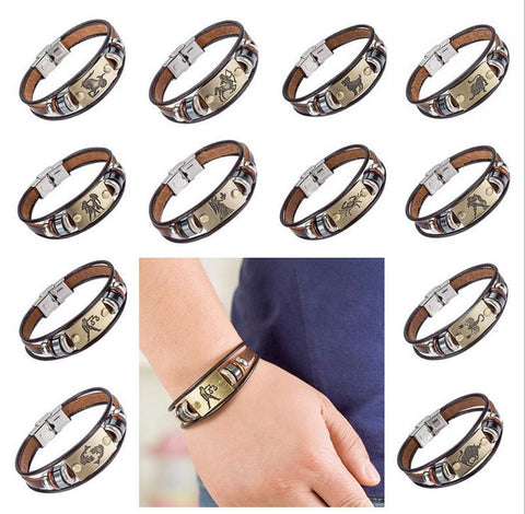 European Fashioned 12 Zodiac Signs Leather Bracelet With Stainless Steel Clasp