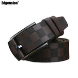 Image of British Style Luxury Designer Plaid Pattern Genuine Leather Belt