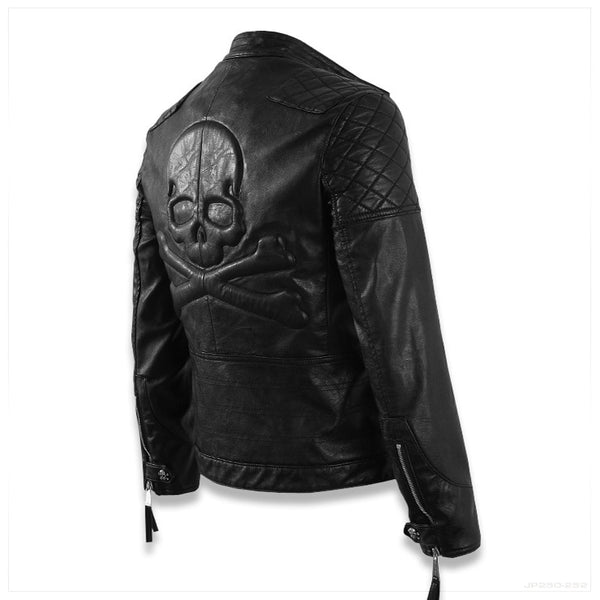 Men's Biker Styled Leather Jacket with Skull on Back - imenapparel.com