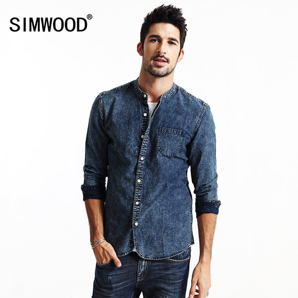 SIMWOOD  Men Casual Denim Long Sleeve Shirt