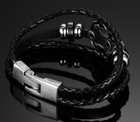 Black Genuine Braided Leather Vintage Anchor Charm Bracelet