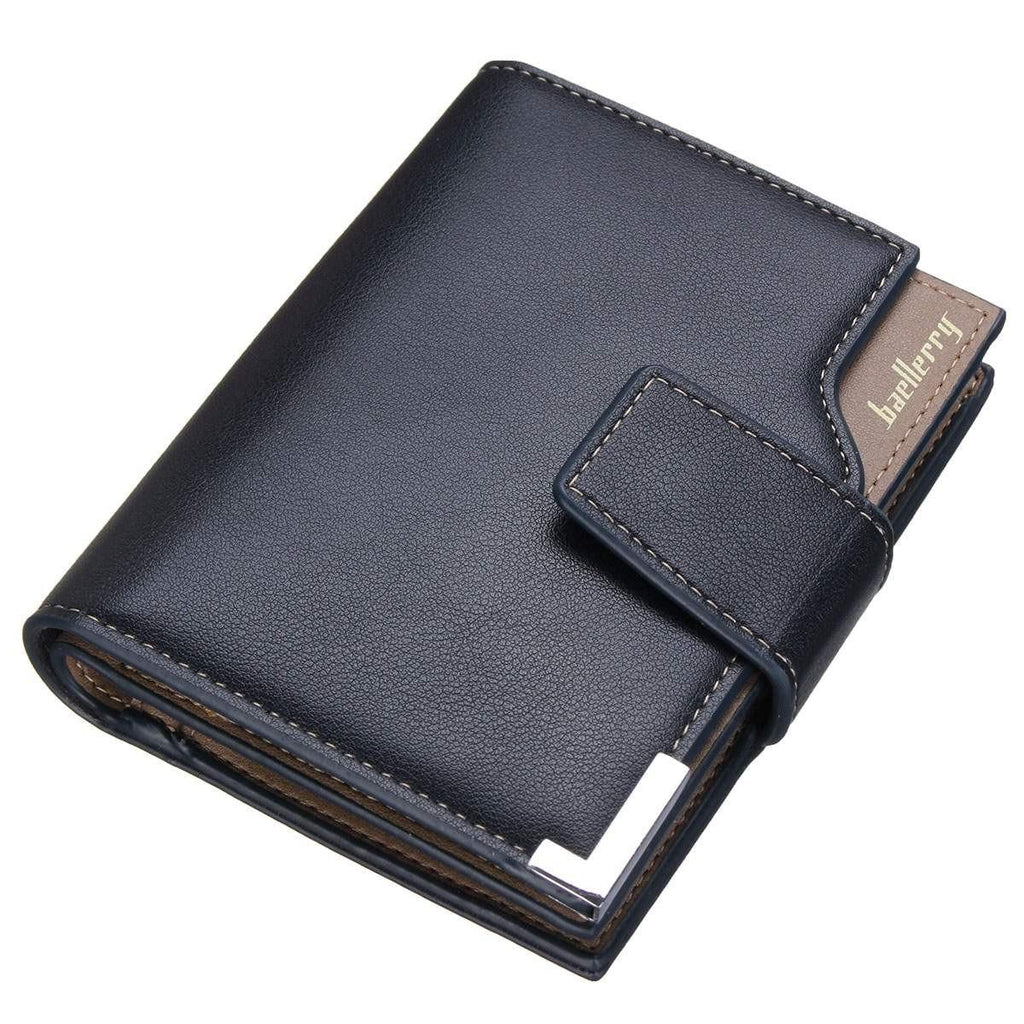 Fashion Men PU Leather Short Wallets Solid 3 Fold