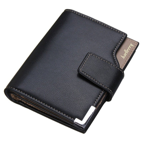 Fashion Mens Leather Short Wallets Solid 3 Fold
