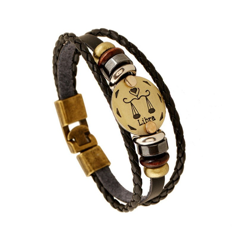Men's Bronze Alloy Buckles Zodiac Signs Bracelet - Wooden Bead + Black Gallstone