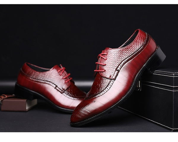 Derby Leather Shoes with Snake Pattern Design - imenapparel.com