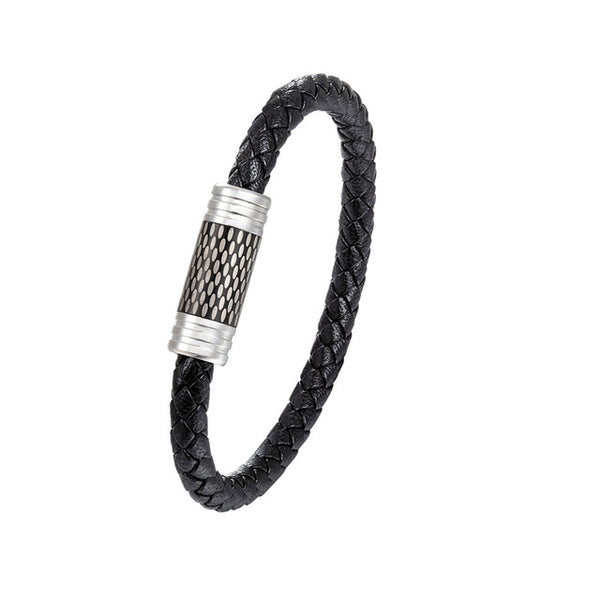 Punk Black and White Braided Steel Wire Bracelet with Magnetic Buckle - imenapparel.com