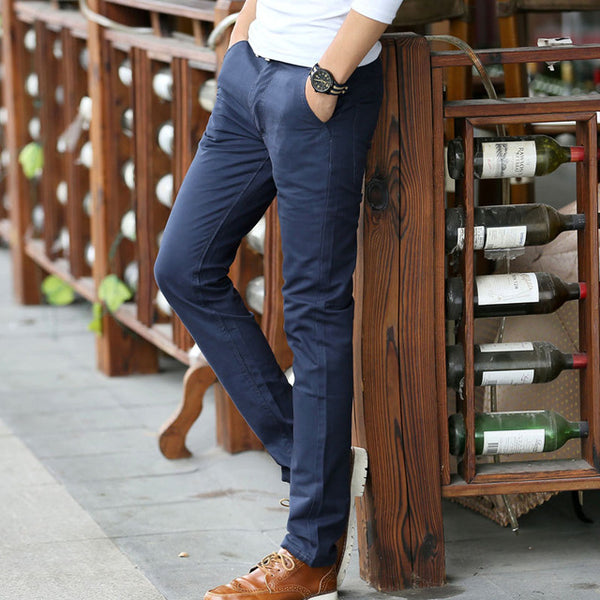 Casual Cotton Straight Khaki Business Suit Pants - imenapparel.com