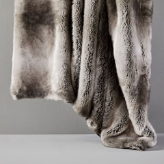 Faux Fur Ombre Throw, Feather Gray