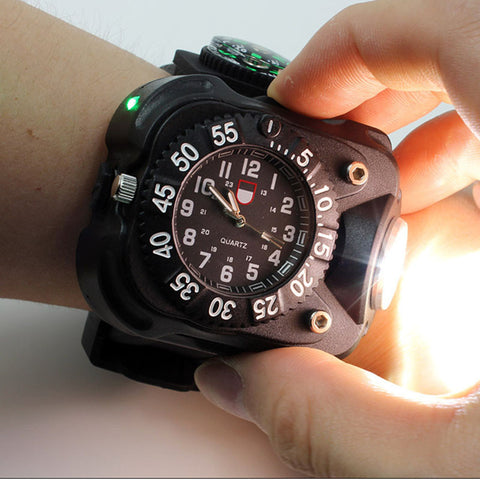3 in 1 Wristwatch With Compass and Flashlight
