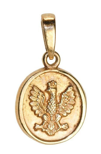 14k Gold Historical White Eagle Oval Pendant