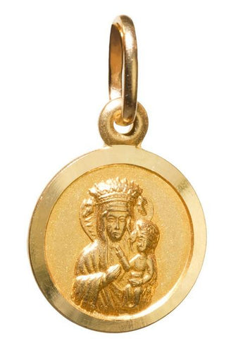 14k Gold Madonna & Child Circle Pendant 0.5 inch