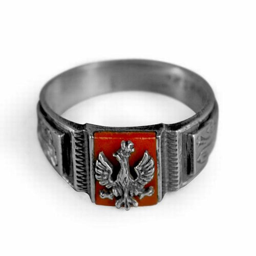 925pf Silver Polish Officer's Eagle Ring with Red Coral